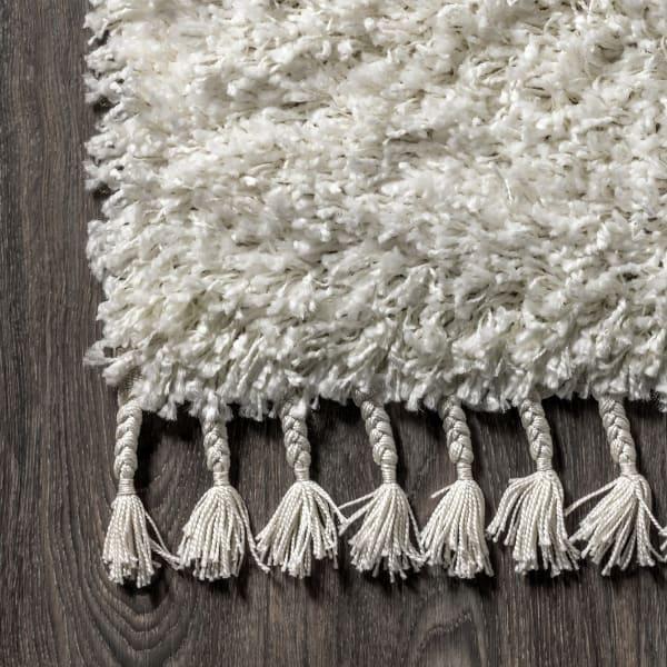 Shag Plush Tassel White 2.25' x 8' Runner Rug