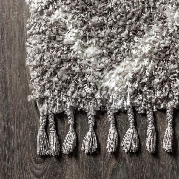Shag Plush Tassel Moroccan Tribal Geometric Trellis Grey/Cream 2.25' x 8' Rectangular Runner Rug