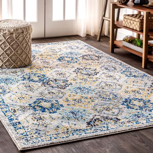 Modern Persian Boho Vintage Trellis Blue/Multi 3' x 5' Area Rug