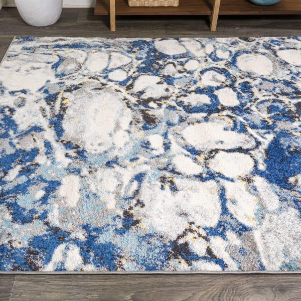 Pebble Navy & Gray Marbled Abstract Dark Gray/Blue 3' x 5' Area Rug