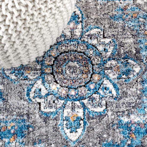 Vintage Medallion Peacock Blue/Gray 2.25' x 8' Runner Rug