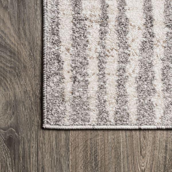 Modern Bold Stripe Beige/Dark Gray 2.25' x 8' Runner Rug