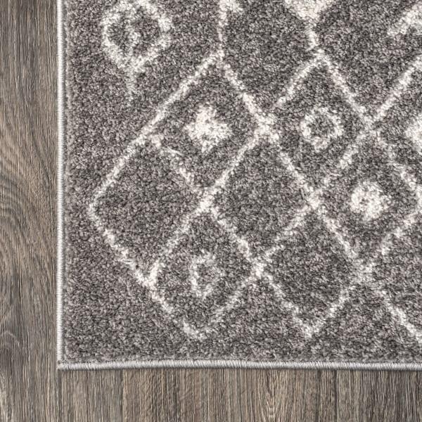 Moroccan Geometric Grey/Cream 3' x 5' Area Rug