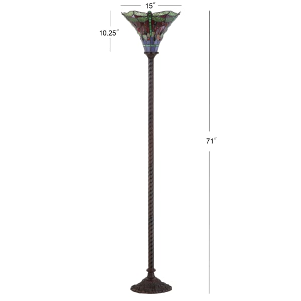 Dragonfly Tiffany-Style Torchiere Floor Lamp, Bronze/Green