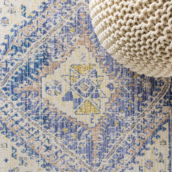 Ornate Geometric Medallion Blue  3' x 5' Area Rug