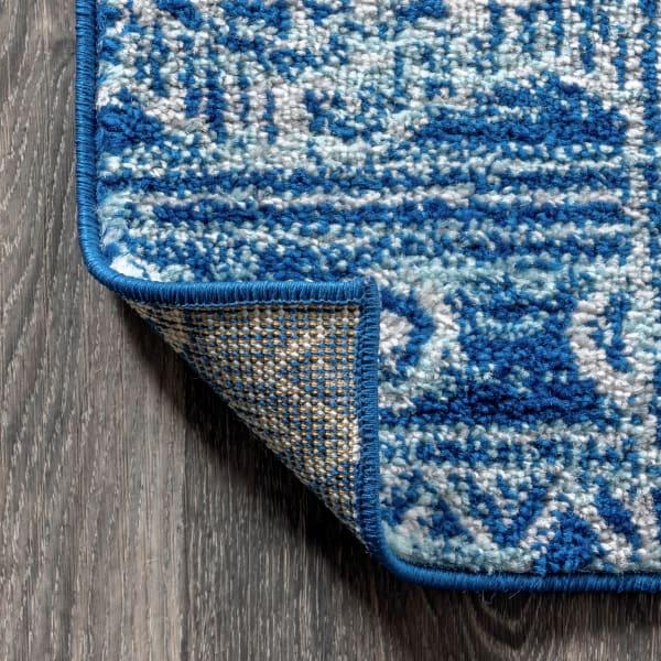 Moroccan HYPE Boho Vintage Tribal Blue/Gray 2.25' x 8' Runner Rug