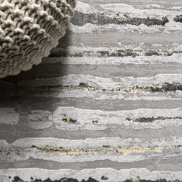 Batten Modern Stripe Gray/Black 2' x 10' Runner Rug