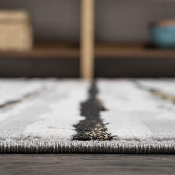Batten Modern Stripe Gray/Black  2' x 8' Runner Rug