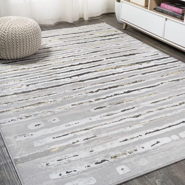 Modern Stripe Gray/Black 3' x 5' Area Rug