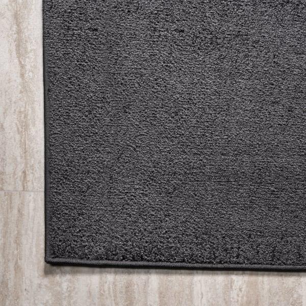Haze Solid Low-Pile Black 2' x 10' Runner Rug