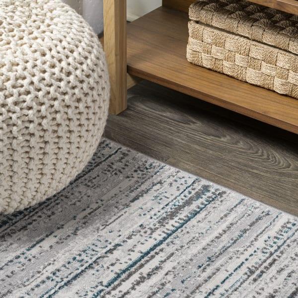 Loom Modern Strie'  Gray/Turquoise 2' x 10' Runner Rug