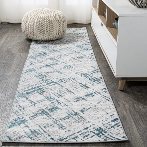 Slant Modern Abstract Gray/Turquoise 2' x 10' Runner Rug