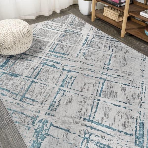 Slant Modern Abstract Gray/Turquoise 3' x 5' Area Rug