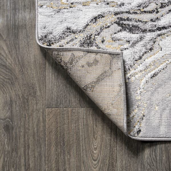 Swirl Marbled Abstract Gray/Black 3' x 5' Area Rug