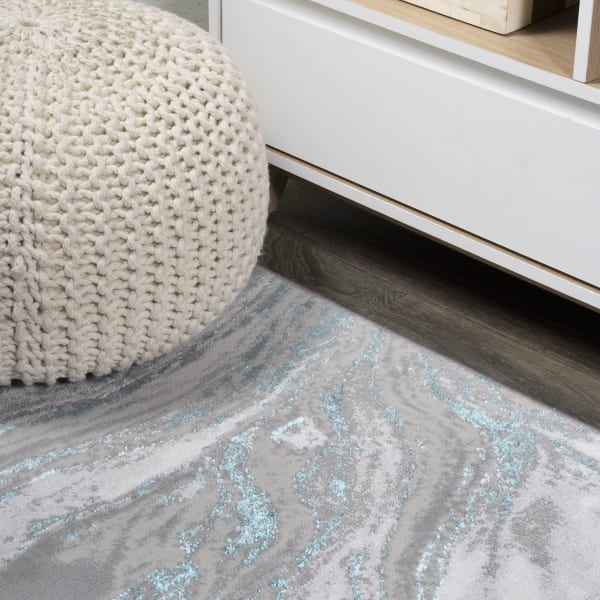 Swirl Marbled Abstract Gray/Turquoise 2' x 8' Runner Rug