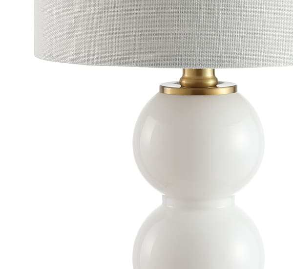 Glass/Metal Table Lamp, White/Brass Gold