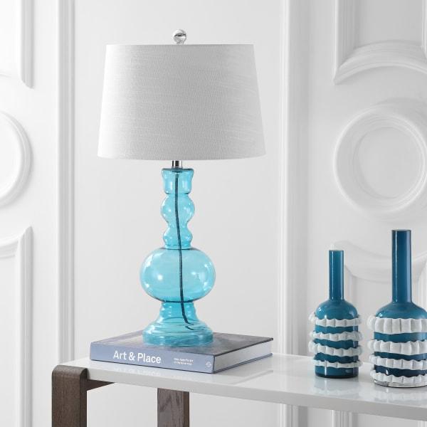 Glass Table Lamp, Aqua (Set of 2)
