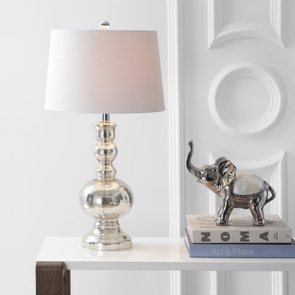 Glass Table Lamp, Mercury Silver (Set of 2)
