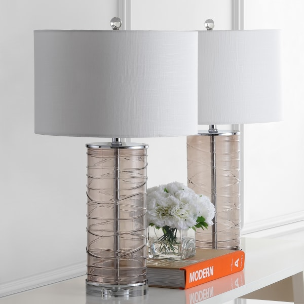 Modern Fused Glass Cylinder Table Lamp, Smoky Gray (Set of 2)