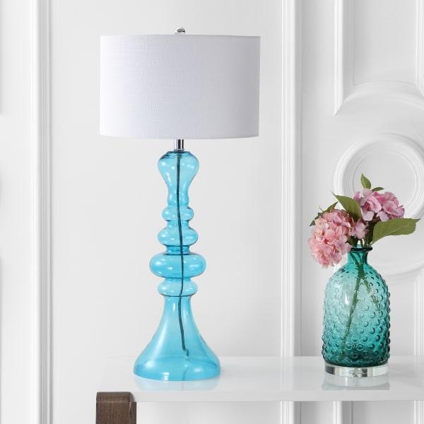 Curved Glass Table Lamp, Aqua