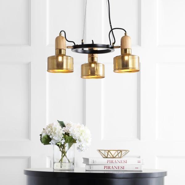 3-Light Adjustable Spotlight Metal LED Pendant, Brass Gold/Black