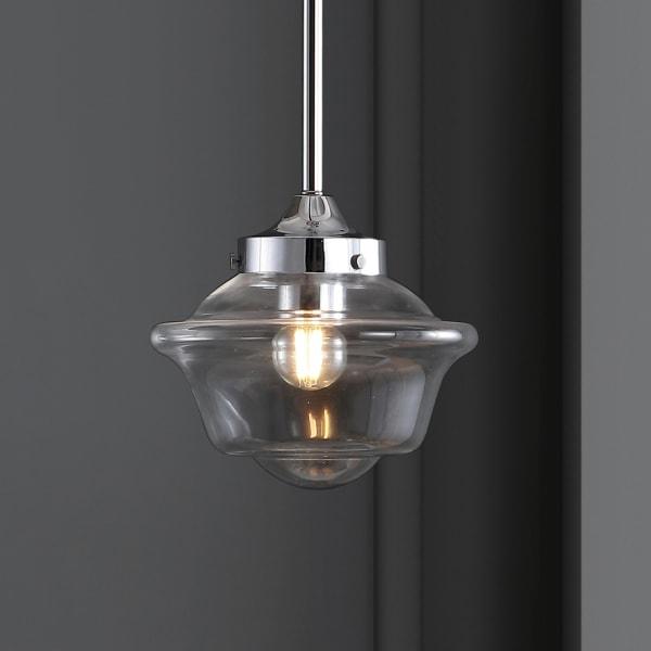 Adjustable Drop Metal/Glass LED Pendant, Chrome