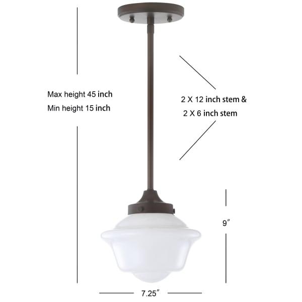 Adjustable Drop Metal/Glass LED Pendant, Oil Rubbed Bronze