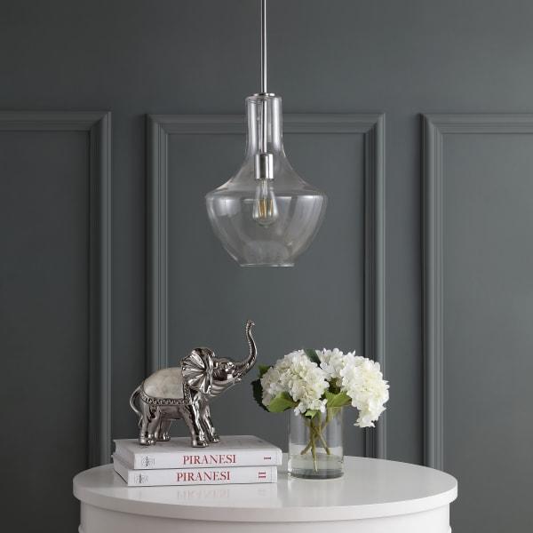 Watts Glass/Metal LED Pendant, Chrome/Clear