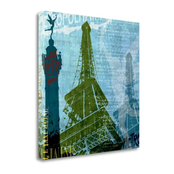 Paris - French Blue By Maura Allen Wrapped Canvas Wall Art