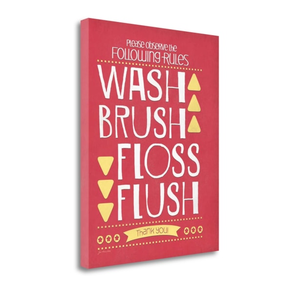 Wash Brush Floss Flush By Jo Moulton Wrapped Canvas Wall Art