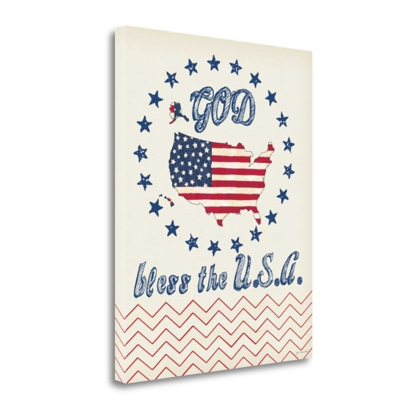 God Bless The Usa By Jo Moulton Wrapped Canvas Wall Art