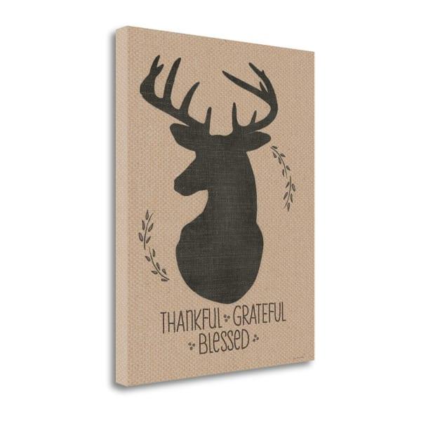 Deer - Grateful By Jo Moulton Wrapped Canvas Wall Art