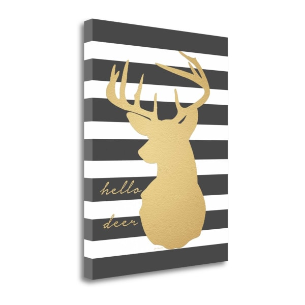 Faux Gold Hello Deer By Jo Moulton Wrapped Canvas Wall Art