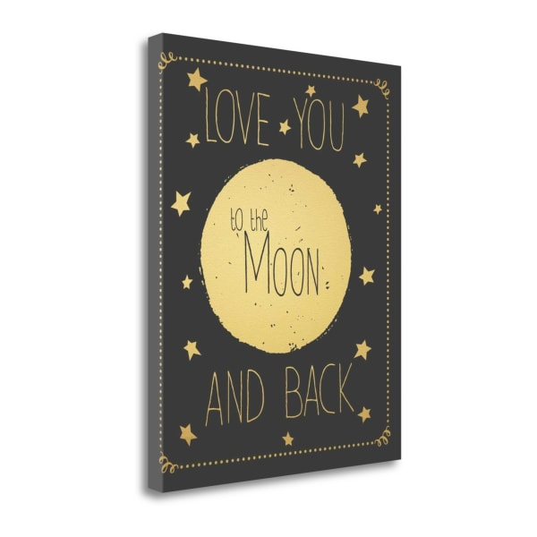 To The Moon - Grey By Jo Moulton Wrapped Canvas Wall Art