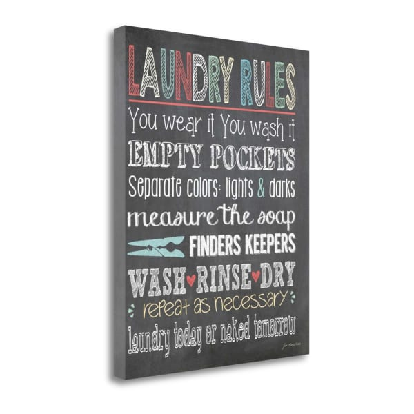 Laundry Rules By Jo Moulton Wrapped Canvas Wall Art