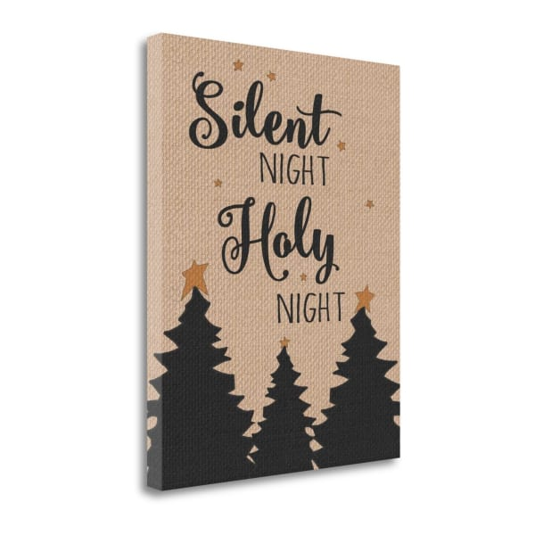 Burlap Silent Night By Jo Moulton Wrapped Canvas Wall Art