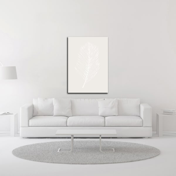 White Leaf by Design Fabrikken Wrapped Canvas Wall Art