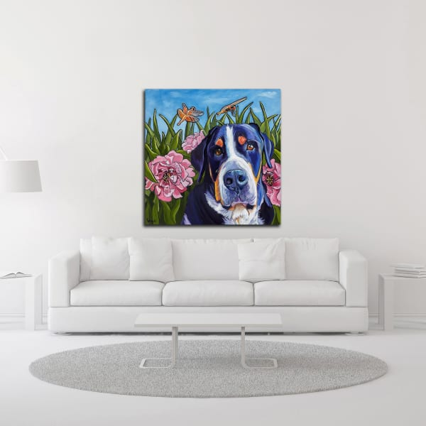 Dog and Dragonflies by Kathryn Wronski Wrapped Canvas Wall Art