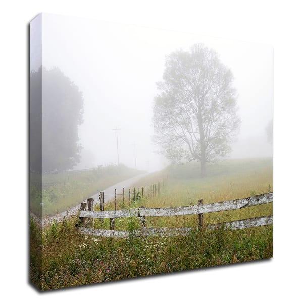Foggy Rural Scene by David Hammond Wrapped Canvas Wall Art