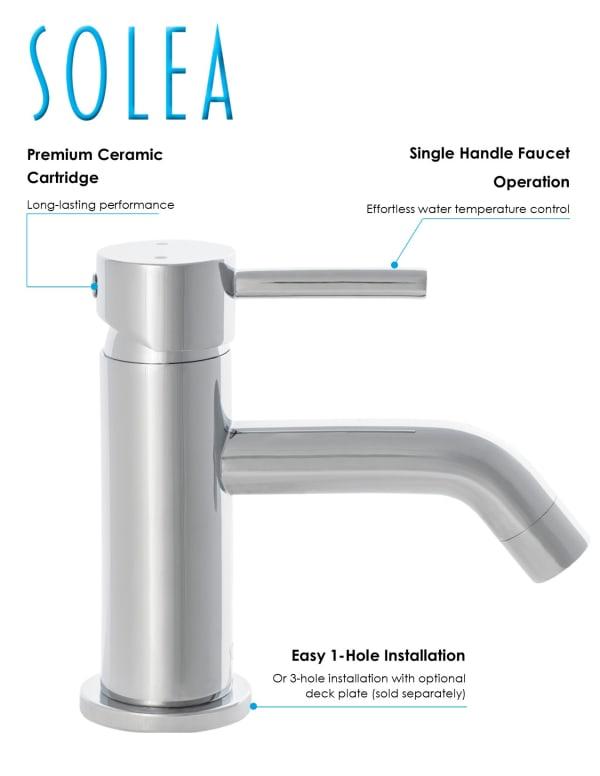 Amity Chrome Brass Single Handle 6 Inch Bathroom Vessel Faucet