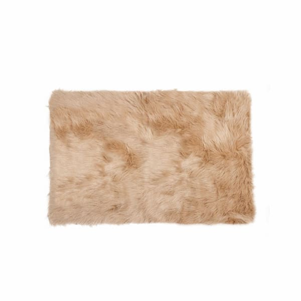 Faux Fur Tan 2' x 3' Rectangular Area Rug