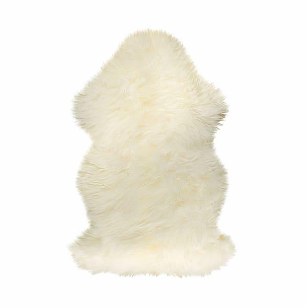 Natural New Zealand Sheepskin Wool White 2' x 3' Area Rug