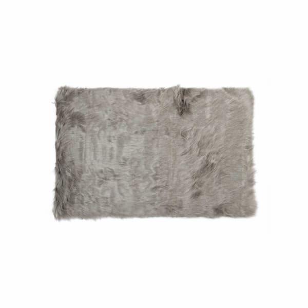 Gray Faux Sheepskin Area Rug