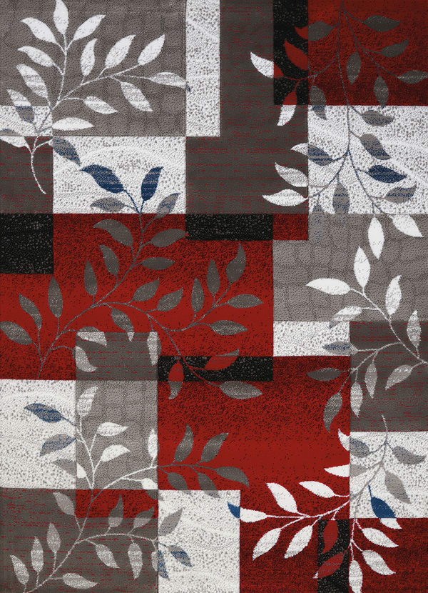 Scarlet Contemporary Patchwork Design 5' x7' Area Rug