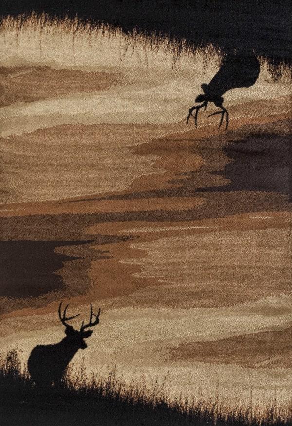 Wildlife Lodge Brown and Beige 5' x 7' Rug