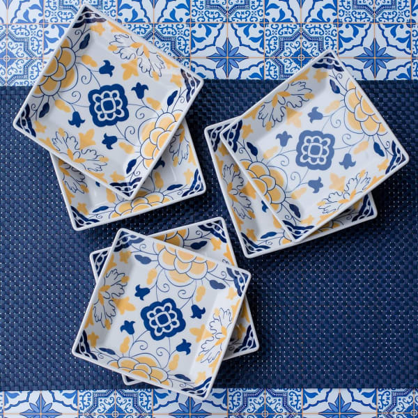 Quartier 6 Piece Blue and Yellow Square Dinner Soup Bowl Set