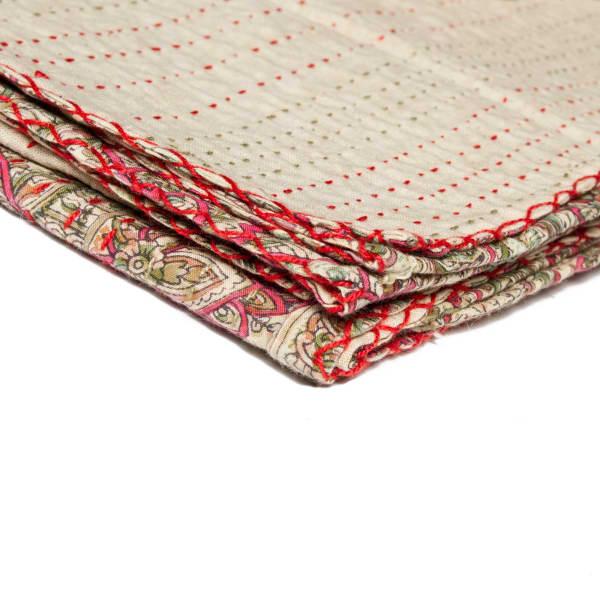 Kantha Beige Throw Blanket