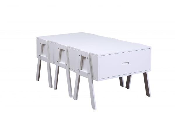 Convertible White Sleek Rectangular Coffee Table