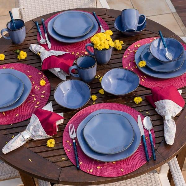 RYO 32 Piece Blue Dinnerware Set