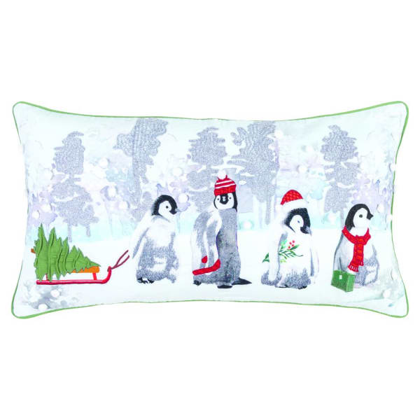 Christmas Penguin Family Filled Pillow